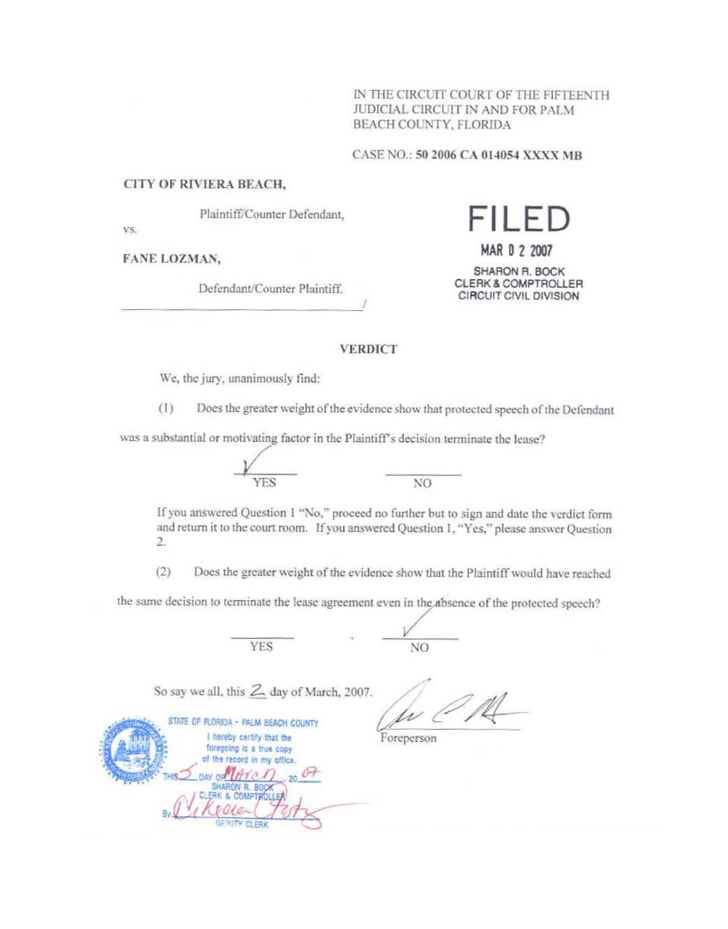 Verdict Fane Lozman vs City of Riviera Beach